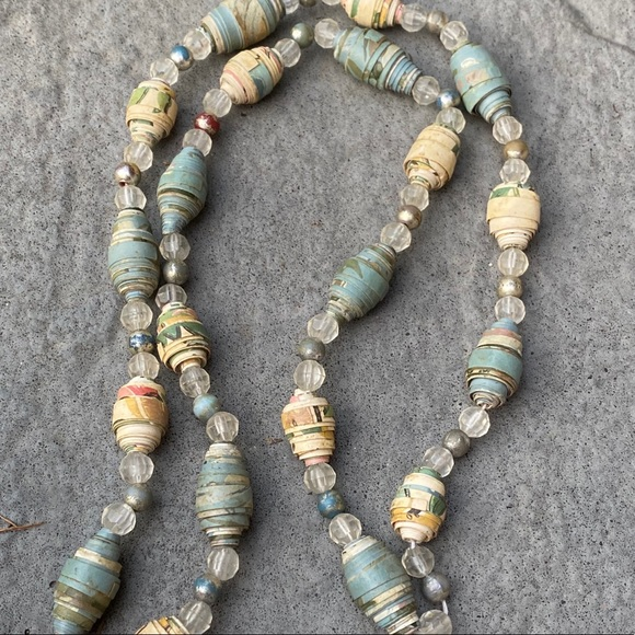 Vintage Handmade paper & distressed bead necklace